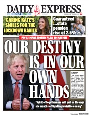 Daily Express front page for 23 September 2020