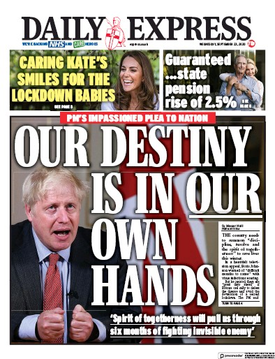 Daily Express Newspaper Front Page (UK) for 23 September 2020