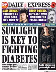 Daily Express (UK) Newspaper Front Page for 24 October 2014