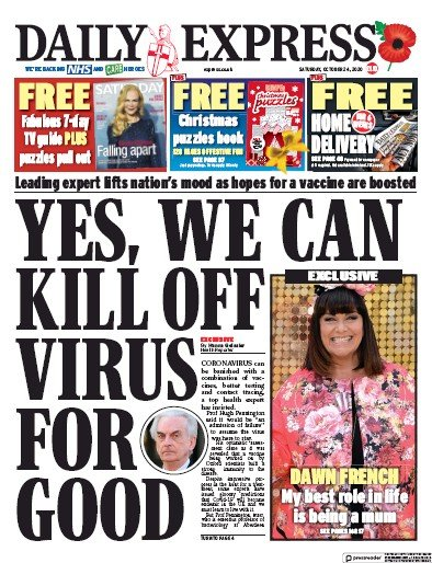 Daily Express Newspaper Front Page (UK) for 24 October 2020