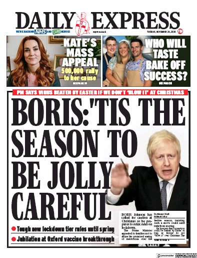 Daily Express Newspaper Front Page (UK) for 24 November 2020