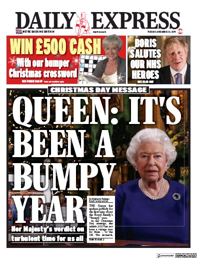 Daily Express Newspaper Front Page (UK) for 24 December 2019