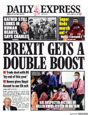 Daily Express (UK) Newspaper Front Page for 24 January 2020