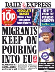 Daily Express (UK) Newspaper Front Page for 24 February 2016