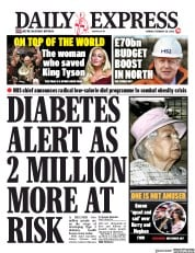 Daily Express (UK) Newspaper Front Page for 24 February 2020