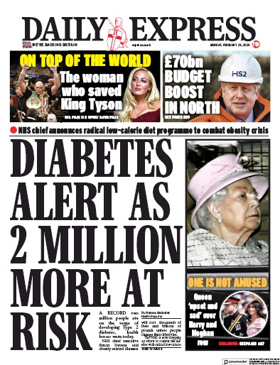 Daily Express Newspaper Front Page (UK) for 24 February 2020