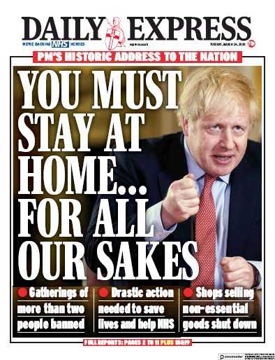 Daily Express Newspaper Front Page (UK) for 24 March 2020