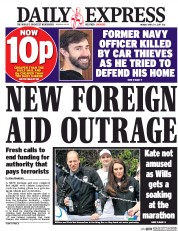 Daily Express (UK) Newspaper Front Page for 24 April 2017