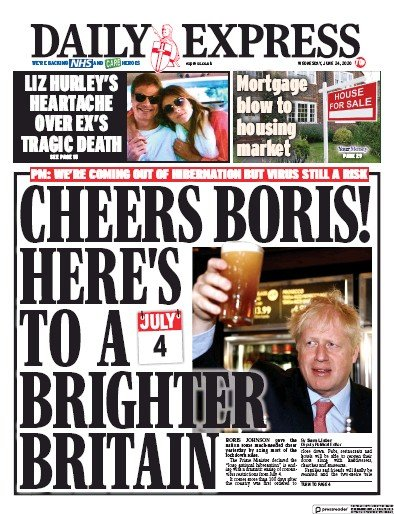 Daily Express Newspaper Front Page (UK) for 24 June 2020