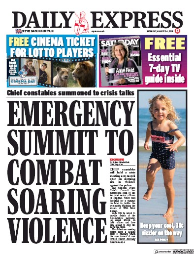 Daily Express Newspaper Front Page (UK) for 24 August 2019