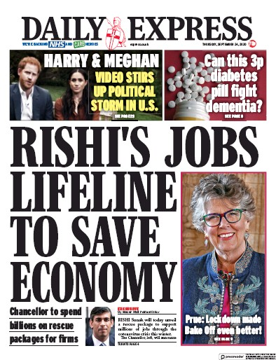 Daily Express Newspaper Front Page (UK) for 24 September 2020