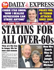 Daily Express (UK) Newspaper Front Page for 25 November 2014