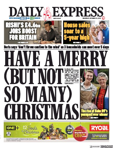 Daily Express Newspaper Front Page (UK) for 25 November 2020