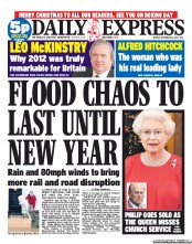 Daily Express Newspaper Front Page (UK) for 25 December 2012