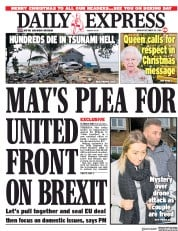 Daily Express (UK) Newspaper Front Page for 25 December 2018