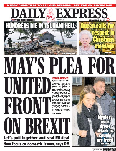 Daily Express Newspaper Front Page (UK) for 25 December 2018
