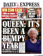 Daily Express (UK) Newspaper Front Page for 25 December 2019