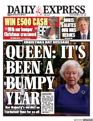 Daily Express Newspaper Front Page (UK) for 25 December 2019