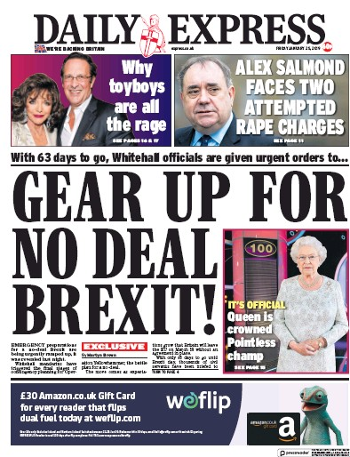 Daily Express Newspaper Front Page (UK) for 25 January 2019