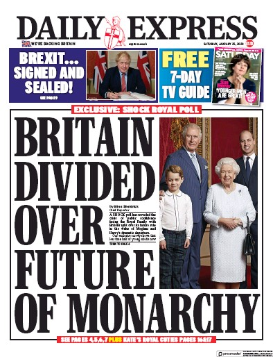 Daily Express Newspaper Front Page (UK) for 25 January 2020