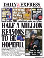 Daily Express front page for 25 January 2021