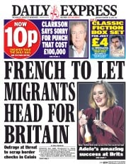 Daily Express (UK) Newspaper Front Page for 25 February 2016