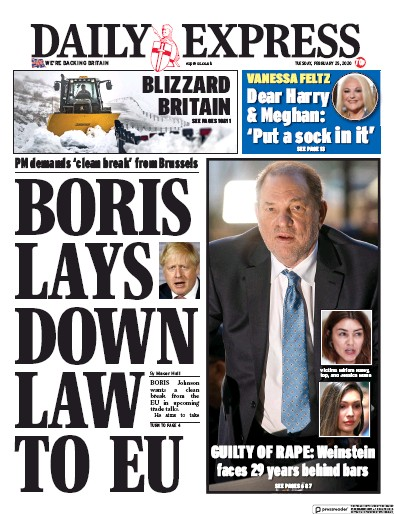 Daily Express Newspaper Front Page (UK) for 25 February 2020