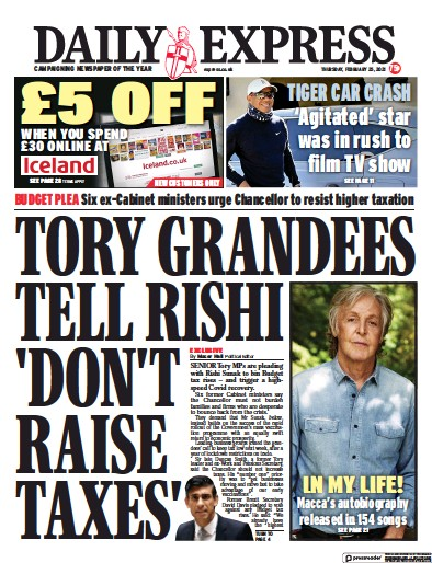 Daily Express Newspaper Front Page (UK) for 25 February 2021