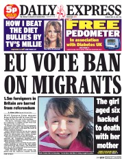 Daily Express (UK) Newspaper Front Page for 25 May 2015