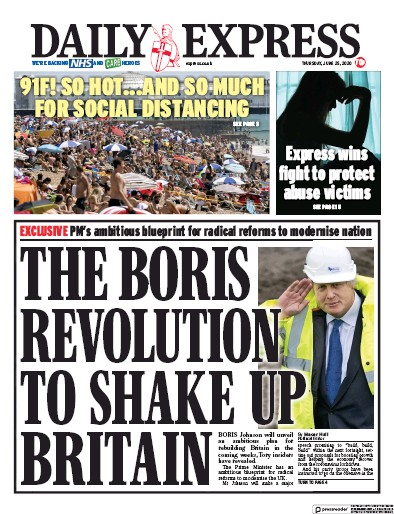 Daily Express Newspaper Front Page (UK) for 25 June 2020