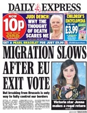 Daily Express (UK) Newspaper Front Page for 25 August 2017