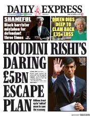 Daily Express front page for 25 September 2020