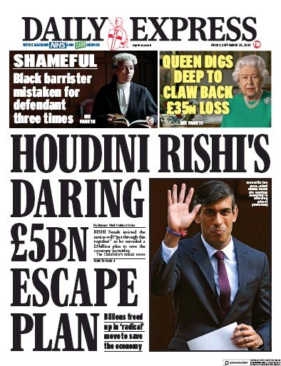 Daily Express Newspaper Front Page (UK) for 25 September 2020