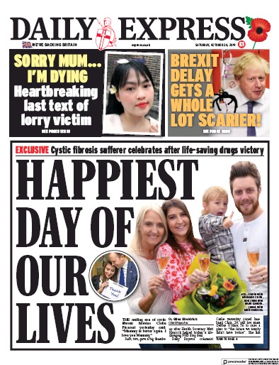 Daily Express Newspaper Front Page (UK) for 26 October 2019