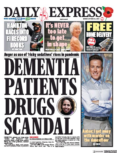 Daily Express Newspaper Front Page (UK) for 26 October 2020