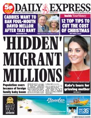 Daily Express (UK) Newspaper Front Page for 26 November 2014