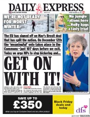 Daily Express (UK) Newspaper Front Page for 26 November 2018