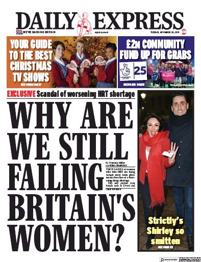 Daily Express Newspaper Front Page (UK) for 26 November 2019