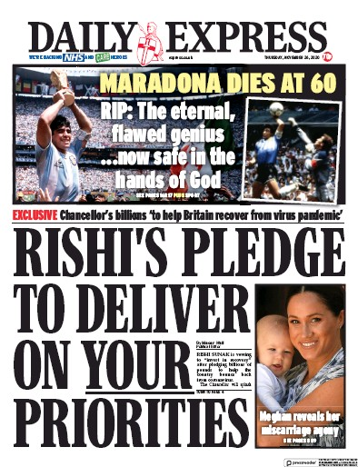 Daily Express Newspaper Front Page (UK) for 26 November 2020