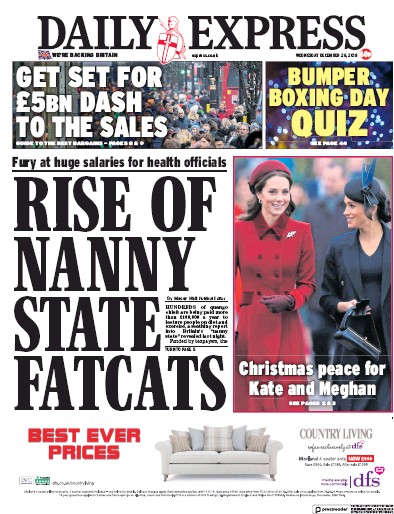 Daily Express Newspaper Front Page (UK) for 26 December 2018