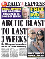 Daily Express (UK) Newspaper Front Page for 26 January 2015