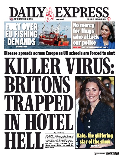 Daily Express Newspaper Front Page (UK) for 26 February 2020