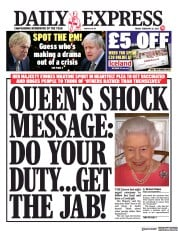 Daily Express front page for 26 February 2021