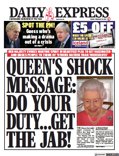 Daily Express Newspaper Front Page (UK) for 26 February 2021