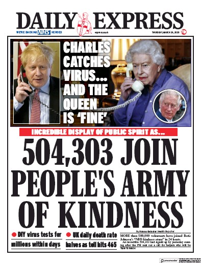 Daily Express Newspaper Front Page (UK) for 26 March 2020