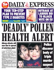Daily Express (UK) Newspaper Front Page for 26 May 2015