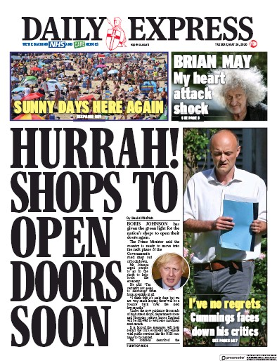 Daily Express Newspaper Front Page (UK) for 26 May 2020
