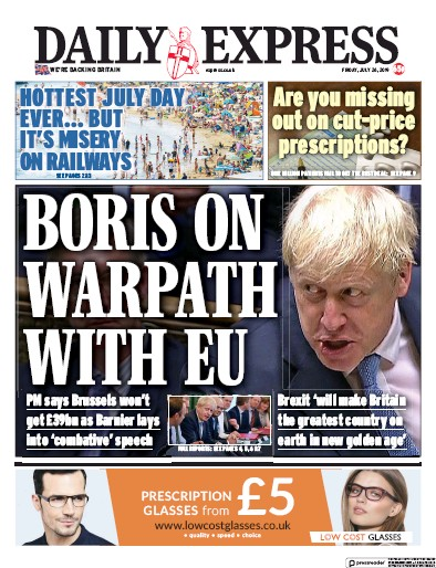 Daily Express Newspaper Front Page (UK) for 26 July 2019