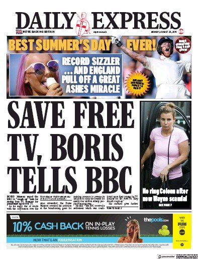 Daily Express Newspaper Front Page (UK) for 26 August 2019