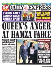 Daily Express Newspaper Front Page (UK) for 26 September 2012